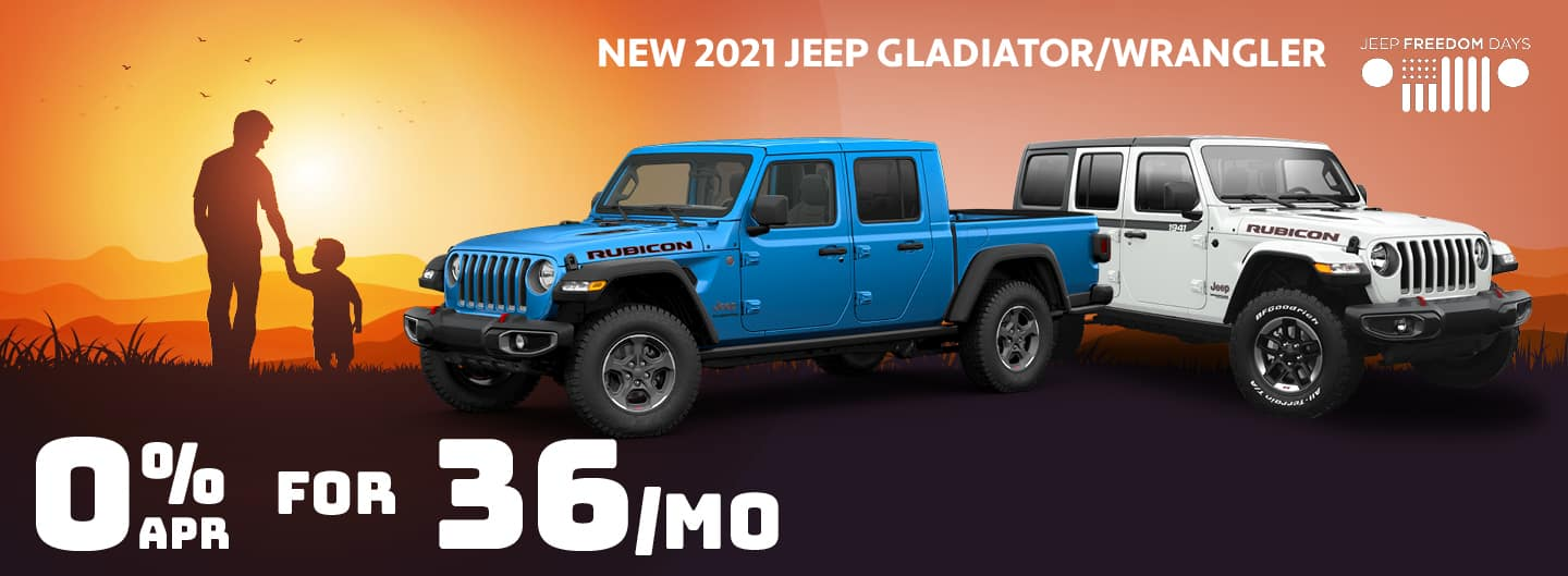 0% APR for 36 months Gladiator and Wrangler