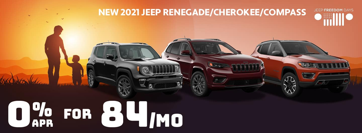 0% APR for 84 months on Renegade, Cherokee, Compass