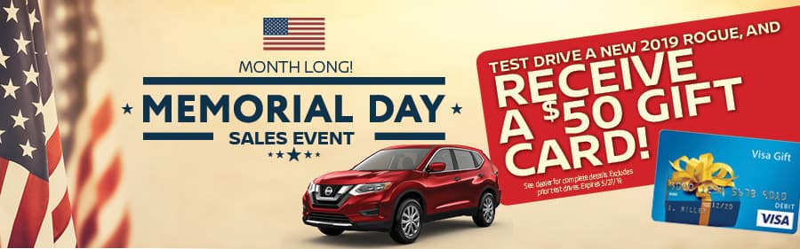 Nissan of Yorktown Heights Memorial Day Gift Card for Test Drive