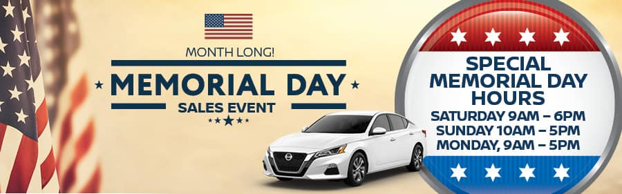 Nissan of Yorktown Heights Memorial Day Holiday Hours
