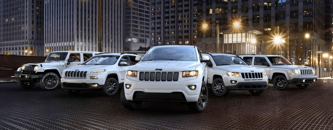 The 2014 Jeep lineup in Altitude white editions are shown in a line in front of city buildings at night.