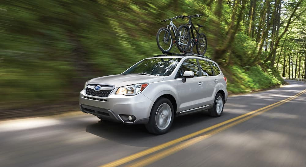 A silver 2016 Subaru Forester is driving past trees with bikes on the roof rack.