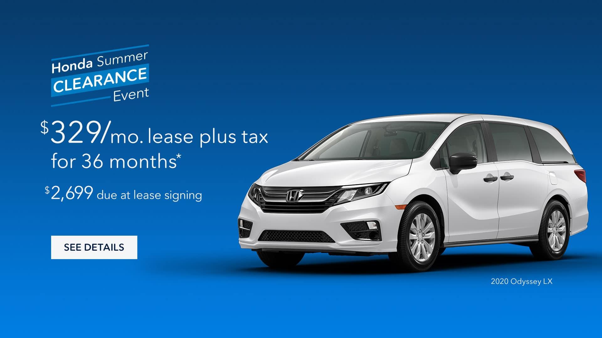 Lease a 2020 Honda Odyssey for $329/mo