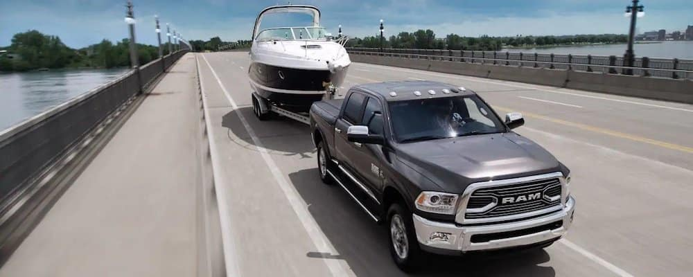 2018 RAM 2500 towing boat over bridge