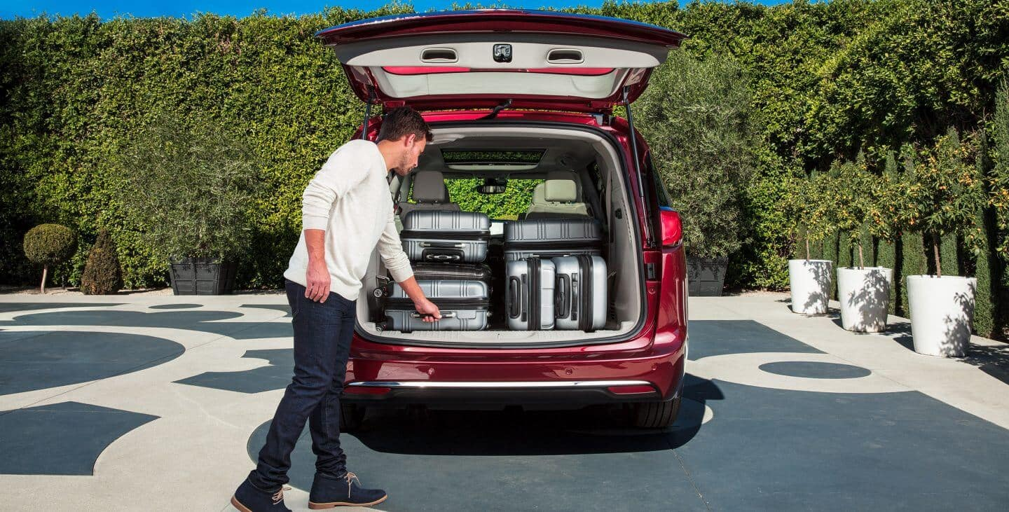 2018 Chrysler Pacifica cargo space loaded with suit cases