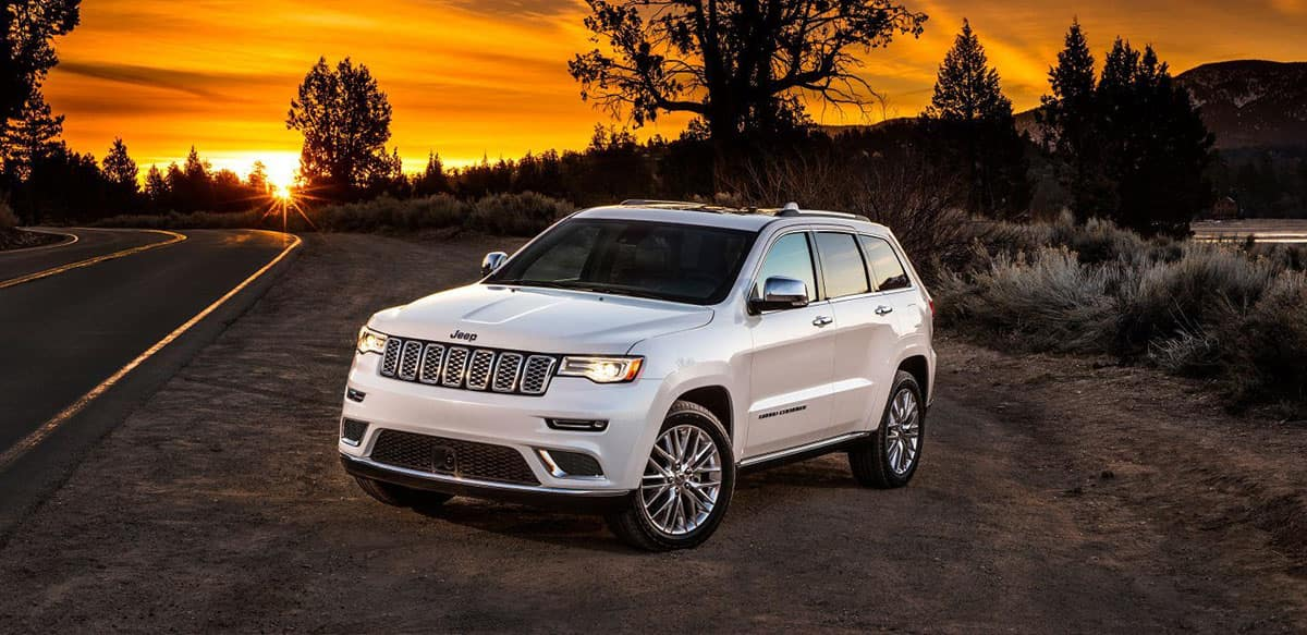 2018 Jeep Grand Cherokee with beautiful sunset background