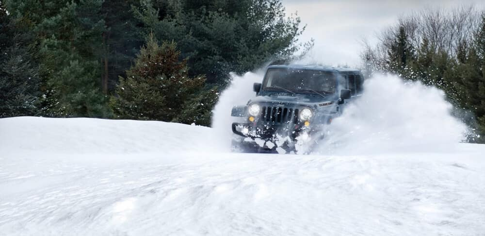 2018 Jeep Wrangler JK off roading through the snow