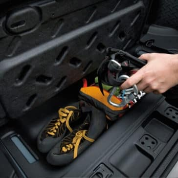 Storage compartment in the back of the 2018 Jeep Wrangler JK