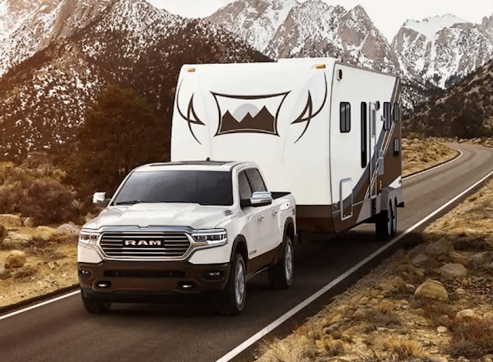 All New RAM 1500 towing trailer