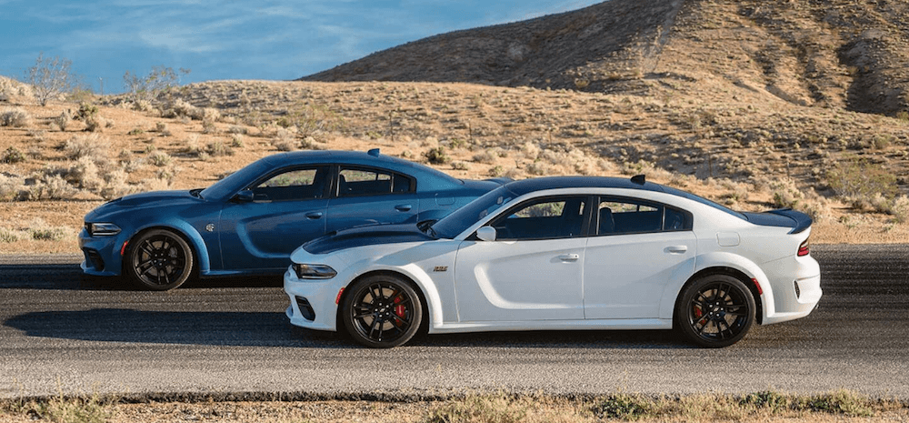 two Dodge Charger Scat Pack with widebody package