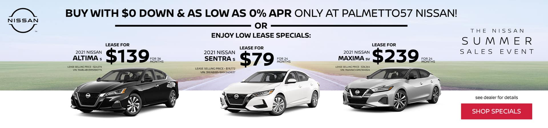 Lease Specials for Nissan Altima, Sentra, and Maxima