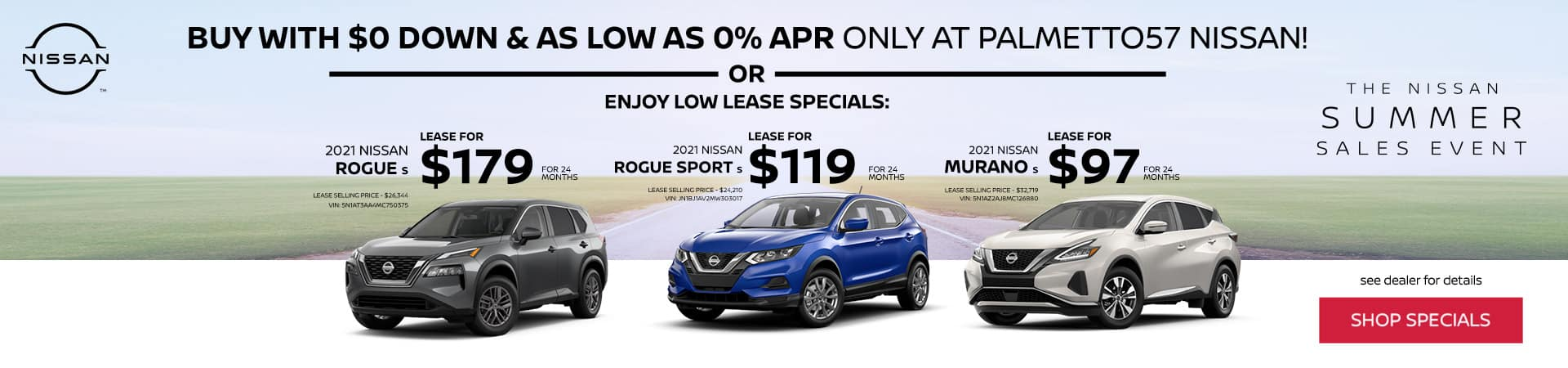 Lease Specials for Nissan Rogue, Rogue Sport, and Murano