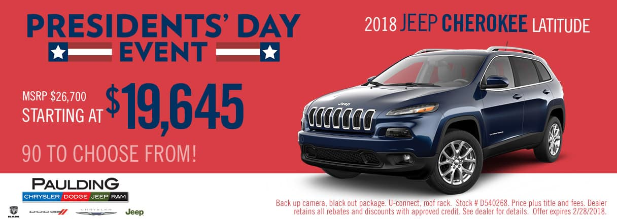 Get a great deal on a 2018 Jeep Cherokee Latitude during the Presidents' Day Event at Paulding CDJR