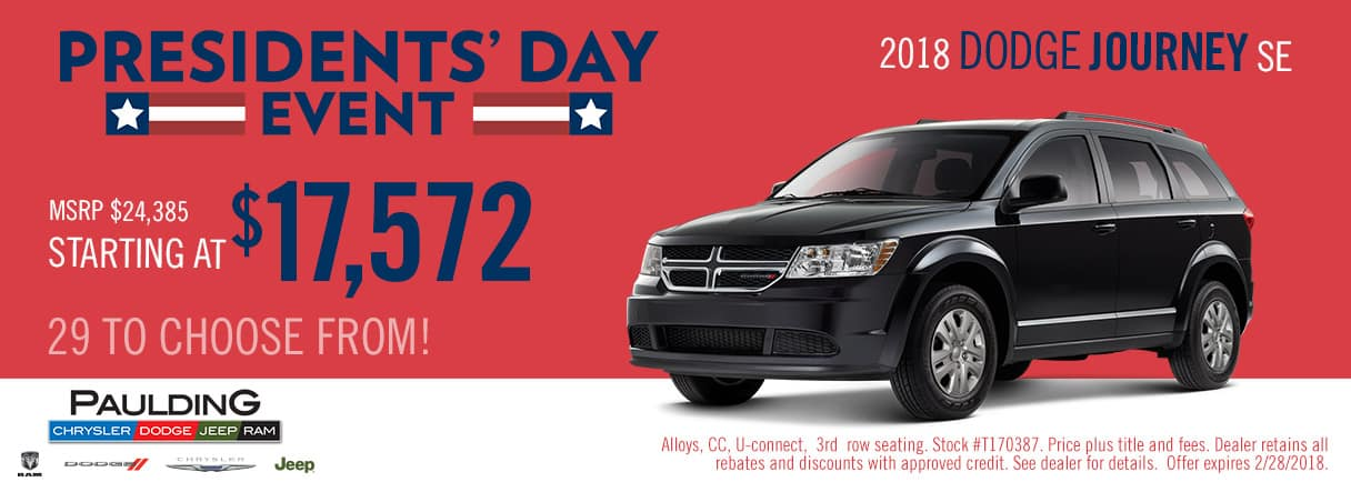 Get a great deal on a 2018 Dodge Journey SE during the Presidents' Day Event at Paulding CDJR
