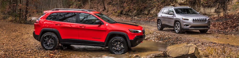 Jeep Cherokee Limited Silver and Jeep Cherokee Trailhawk Red