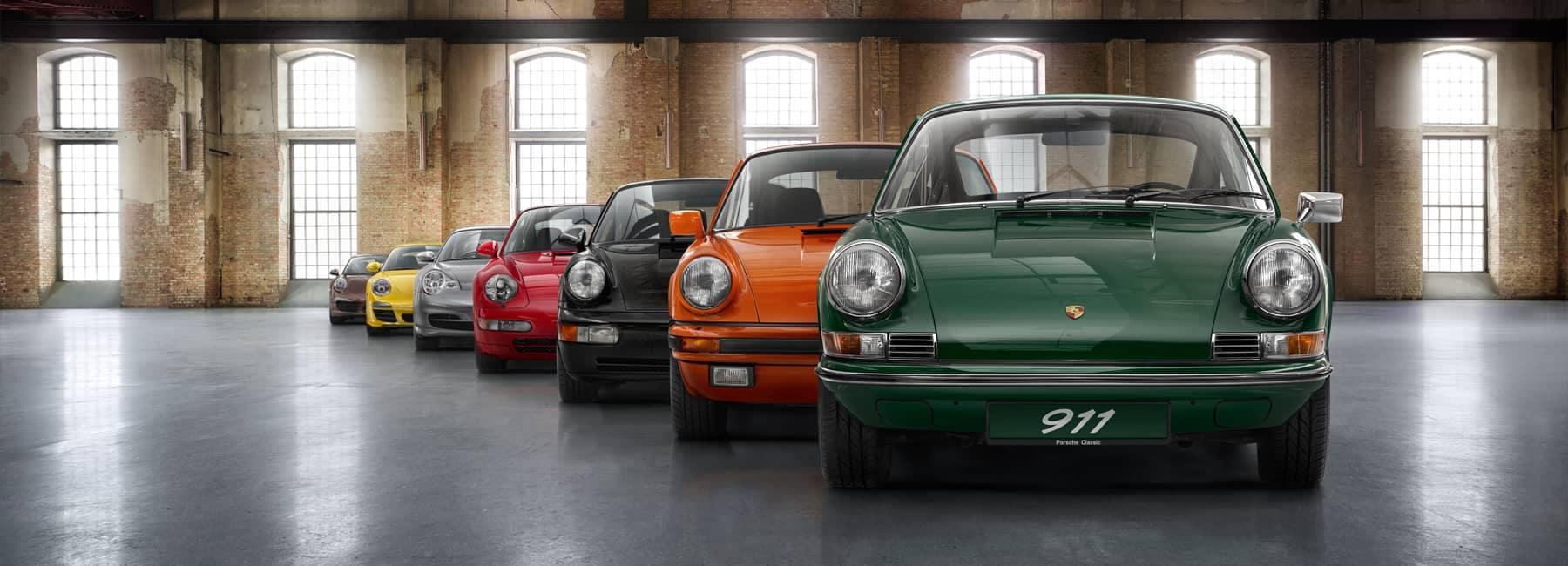Porsche Classic Vehicles in a lineup