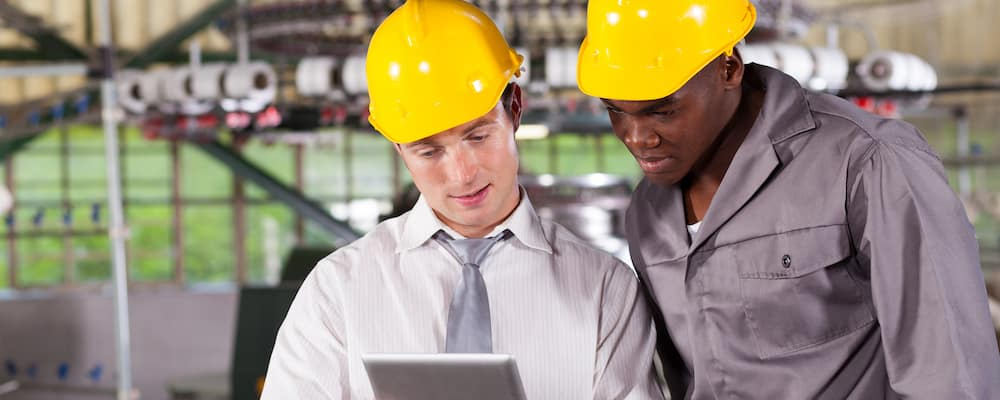 factory manager and worker