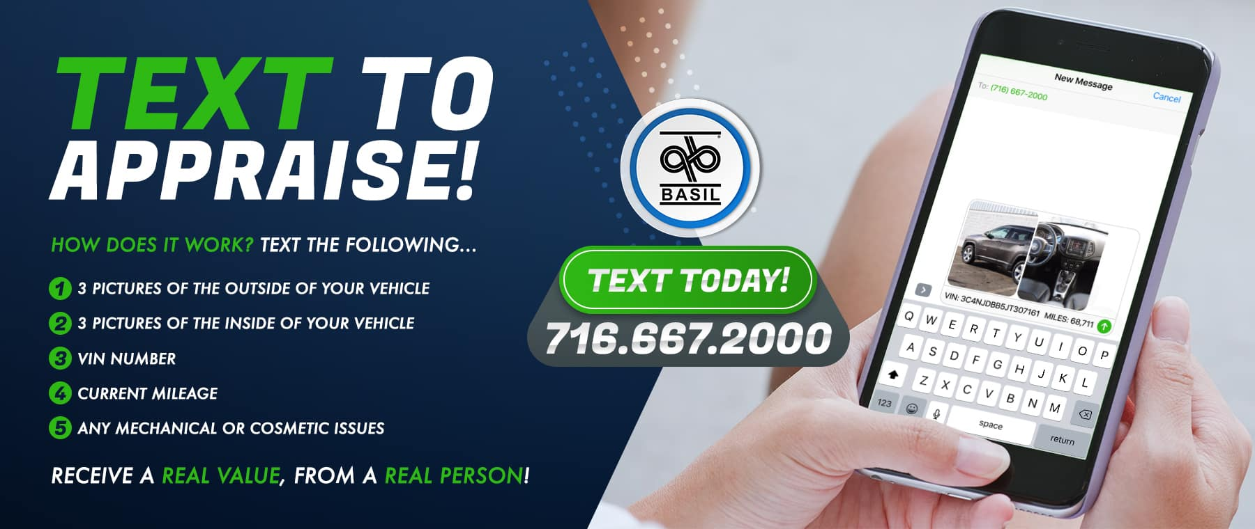 Text 716-667-200 for a vehicle appraisal.