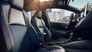 Image of the interior of a 2020 Toyota Corolla.