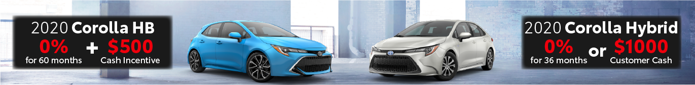 Schaumburg Toyota 0% offer on Corolla Hatchback and Corolla Hybrid