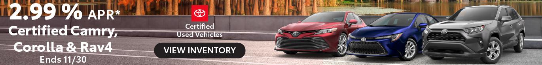 Schaumburg Toyota Certified Camry Corolla RAV4 2.99% APR offer