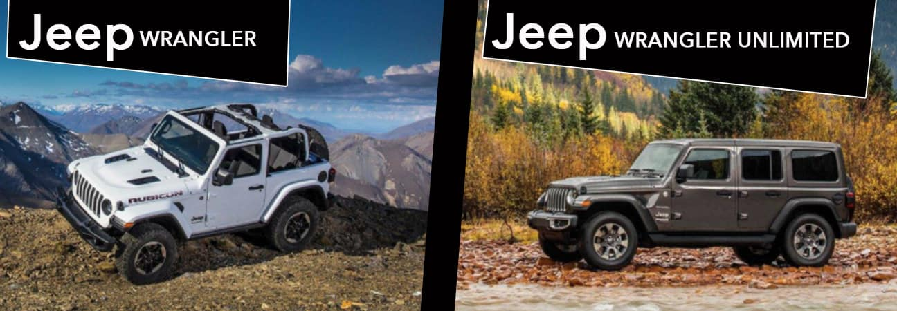Left: Jeep Wrangler. Right: Jeep Wrangler Unlimited