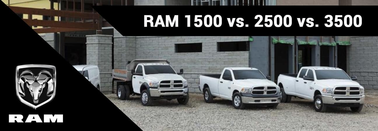 From left to right: the 2018 RAM 1500, 2018 RAM 2500, and 2018 RAM 3500.