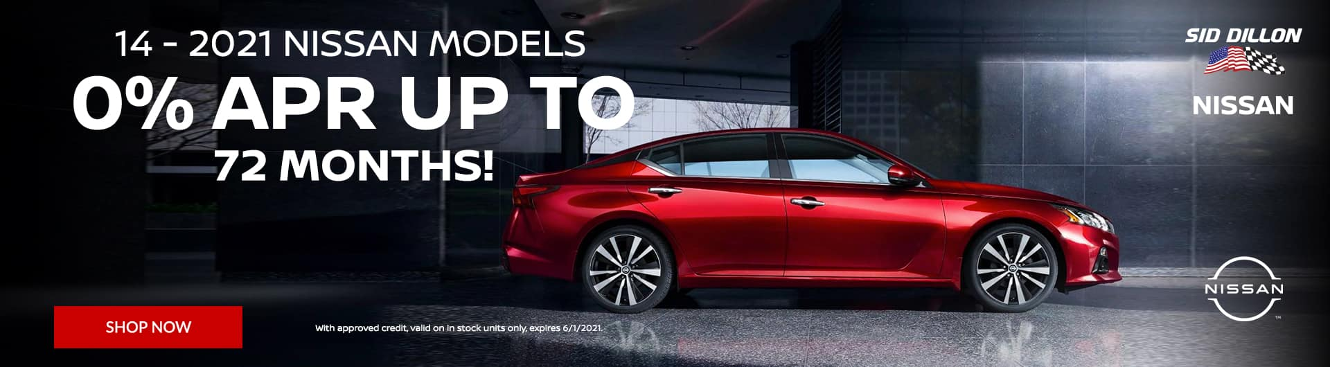 0% APR up to 72 months on 2021 Nissan Models