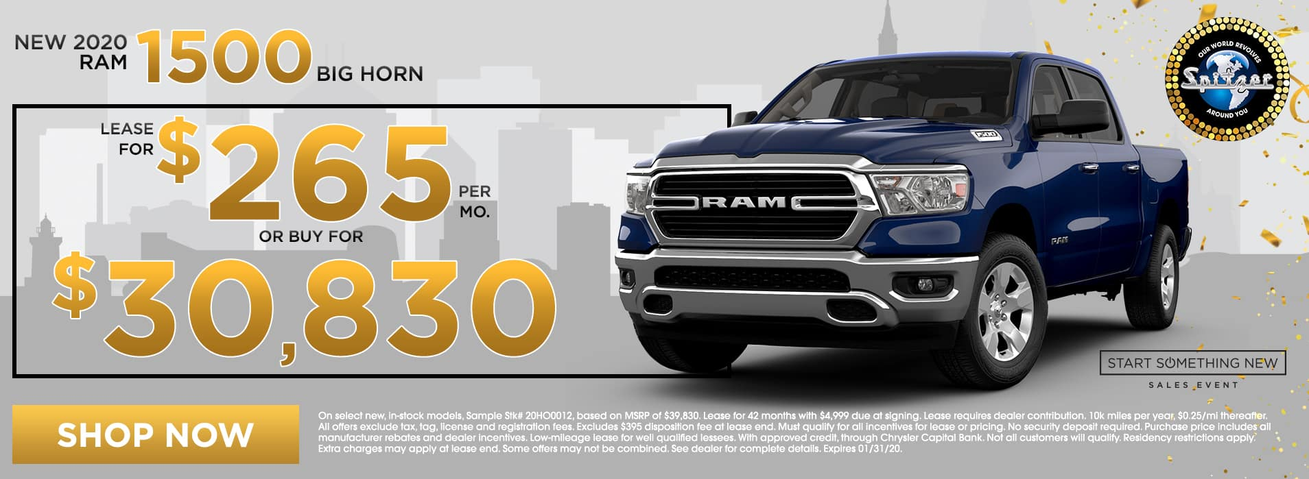 RAM 1500   Lease for $265 per mo / Buy for $30,830