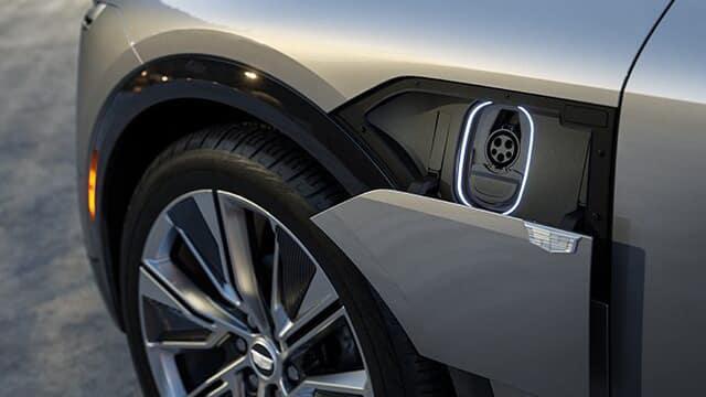 Charging port of the 2023 Cadillac LYRIQ.