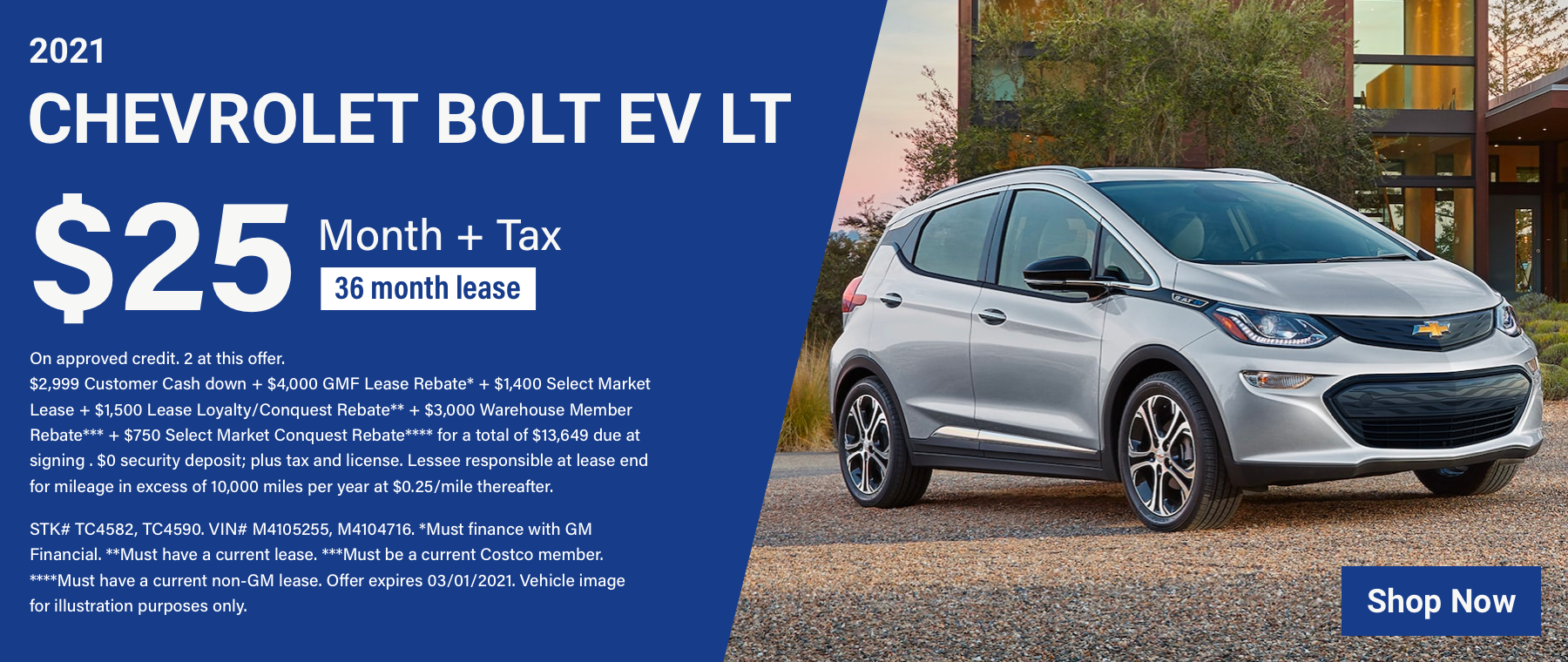TC – 2021 Chevy Bolt EV LT – $25 March
