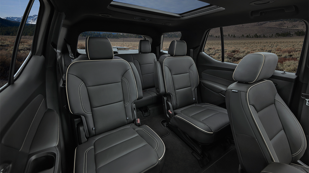 2022 Chevy Traverse cabin showing back row seating