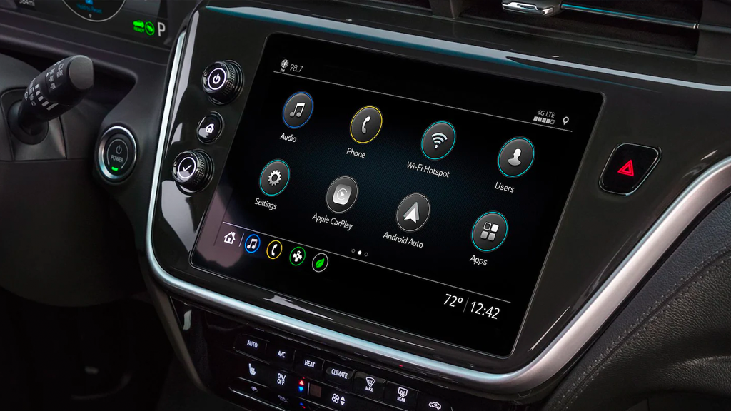 2022 Chevy Bolt EV dashboard close up with a infotainment screen.
