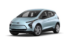 2022 Chevy Bolt EV 1LT in the color Ice Blue Metallic.