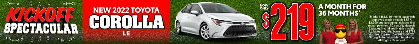 New 2022 Toyota Corolla - Now Only $219 a month