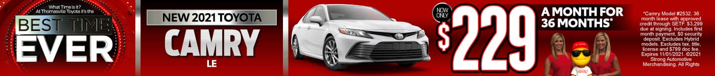 New 2021 Toyota Camry - Now Only $249 a month - Act Now
