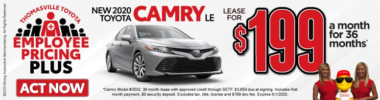 New 2020 Toyota Camry - Lease for $199 a month for 36 months - Click to View Inventory