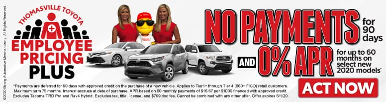 Employee Pricing Plus No Payments for 90 Days and 0% APR for up to 60 months on Select New 2020 Models - Click to View Inventory