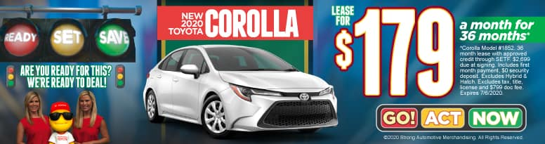 New 2020 Toyota Corolla - Lease for $179 a month for 36 months - Click to View Inventory