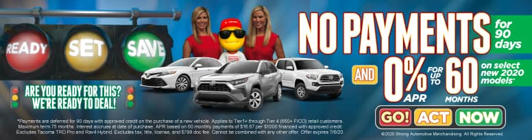 No Payments for 90 Days and 0% APR for up to 60 months on Select New 2020 Models - Click to View Inventory