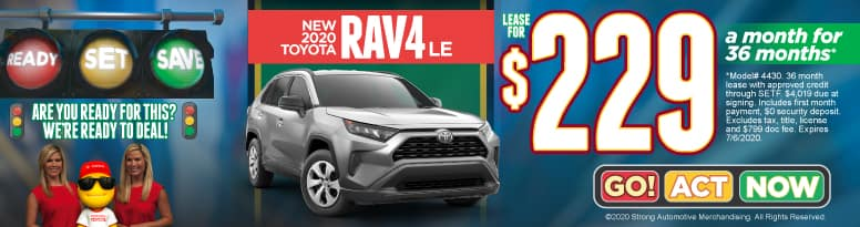 New 2020 Toyota Rav4 - Lease for $229 a month for 36 months - Click to View Inventory