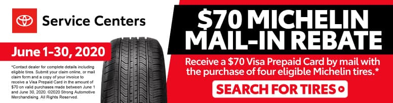 $70 Michelin Mail-Rebate - Receive a $70 Visa Prepaid Card by mail with the purchase of 4 eligible Michelin tires* - Click to Search for Tires