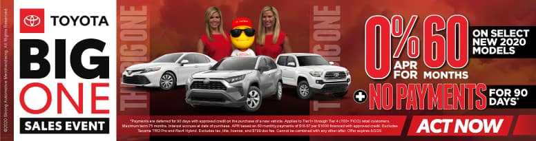 0% APR for 60 months on select new 2020 models plus no payments for 90 days - Click to View Inventory