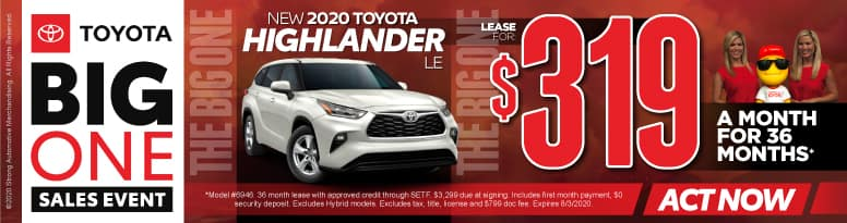 New 2020 Toyota Highlander - Lease for $319 a month for 36 months - Click to View Inventory