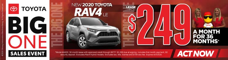 New 2020 Toyota Rav4 - Lease for $249 a month for 36 months - Click to View Inventory