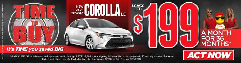New 2021 Corolla - lease for $199 a month for 36 months - Click to View Inventory