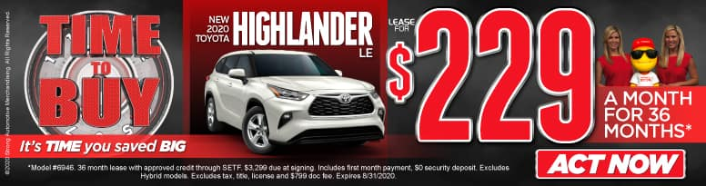 New 2020 Highlander - lease for $229 a month for 36 months - Click to View Inventory
