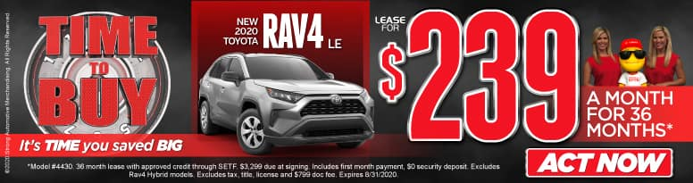 New 2020 Rav4 - lease for $239 a month for 36 months - Click to View Inventory