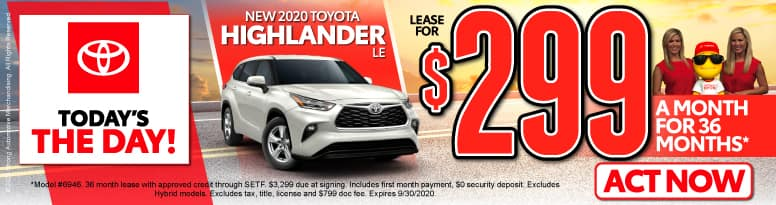 New 2020 Toyota Highlander   Lease for $299 a month   Click to View Inventory