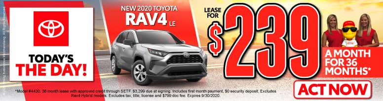 New 2020 Toyota Rav4   Lease for $239 a month   Click to View Inventory